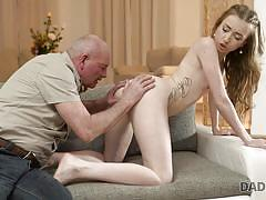 blonde, babe, old man, blowjob, pussy licking, fingering, nipples sucking, daddy4k