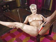 Short haired blonde loves to be dominated