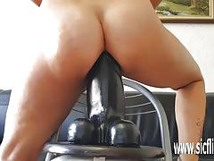 Naughty sarah fucks colossal dildos in her greedy pussy