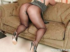 Frisky curvy blonde wanks dildo toy in shiny nylon pantyhose