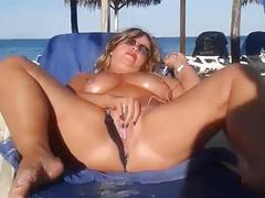My slut wife is masturbating arrondissement people at the beach