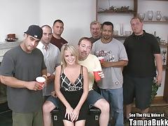 Cute small titty country blonde wild gangbang