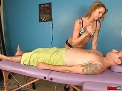 Blonde masseuse leaves guy covered in cum