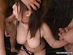 Sweet asian babe double fucked up the ass and creampied