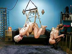 milf, threesome, bdsm, lesbians, whipping, domination, tied up, suspended, pussy eating, ball gag, rope bondage, whipped ass, kink, ryan keely, cherie deville, lydia black