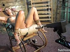 Hot bdsm babe teased and toyed by master
