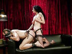 Hot wife fucking her husband with a huge strapon