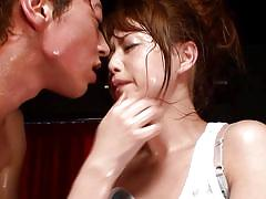 Footjob and cocksucking from premiere av idol