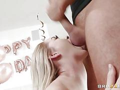 Slutty babe seduced her stepdad and sucked his balls