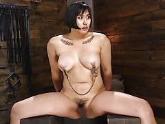 Hard metal bondage and brutal whipping made her pussy wet