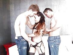 Big booty holly gets fucked by two studs