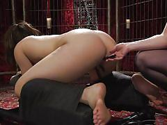 milf, bdsm, lesbians, babe, lezdom, from behind, dildo fuck, device bondage, whipped ass, kink, aiden starr, kimber woods