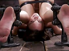 Bondage and whipping combo made her pussy dripping wet