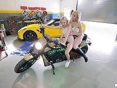 Sweet cristi ann and jane wilde scissor in the garage