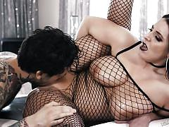 milf, big ass, big tits, big cock, oiled, pussy licking, tattooed, from behind, fishnet costume, burning angel, small hands, angela white