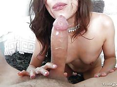 babe, big cock, deepthroat, rimjob, brunette, ball sucking, pov, throated, myxxxpass, kalina ryu