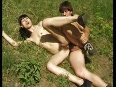 Brunette slut fucked outdoor