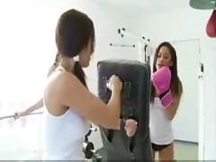 Teen lesbian workout