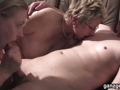 Ganzgeil.com milf and german babe sharing a hard cock