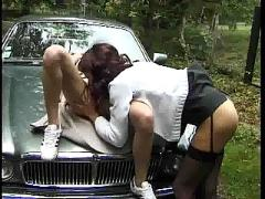 Lesbian pleasure in the car