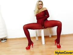 Hot slut covered in red nylons from head to toe