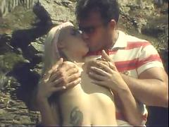 Gorgeous blonde ass fucked on the rocks