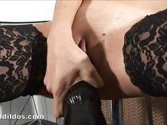 stockings, dildo, brunette, amateur, toy, masturbating, toys, masturbation, solo, sextoy, masturbate, insertion, brutal
