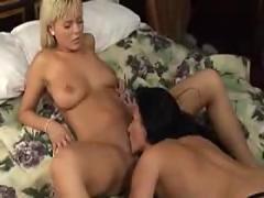 Sensual lesbians satrap-on scene
