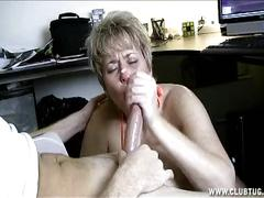 Naughty mature handjob in car