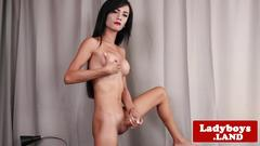 Classy asian tgirl with round tits wanks solo