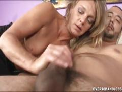 Naughty milf jerks off a naked guy