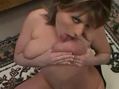 brunette, big, tits, latex, fetish, masturbation, close-up, fingering, pov, blowjob