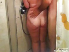 Filthy wife fucked in the shower