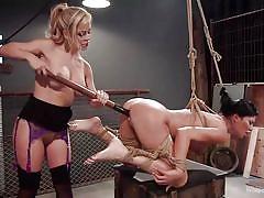 Blonde dominatrix punishes her favorite busty sub!