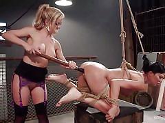 milf, bdsm, lesbians, big tits, dildo, vibrator, lezdom, suspended, rope bondage, whipped ass, kink, jasmine jae, cherie deville