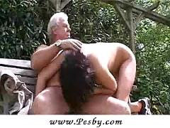 Old gray senior is banging a hot young chick