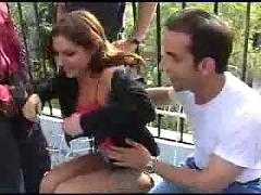 brunette, outdoor, reality, big, tits, pussy, rubbing, groupsex, gangbang, blowjob