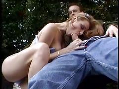 French babe bangs man outdoors