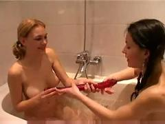 Teen girls in bath