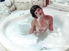 Tatiana enjoys the bath followed by masturbating