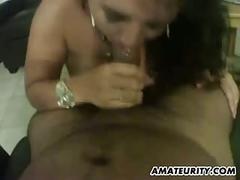 Busty and chubby amateur wife sucks and fucks
