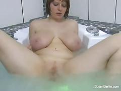 Busty redhead babe masturbating