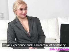 Femaleagent blonde body building beauty masturbates for sexy agent