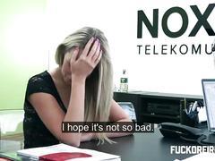 Hot blonde offers her ass to get a raise