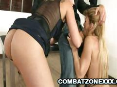 Cathy watches hot blonde getting fucked