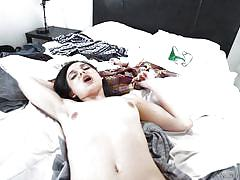 Babe with hairy cunt gets fucked