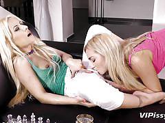 blonde, lesbians, babe, high heels, lesbian kissing, piss drinking, undressing, pov, pissing fetish, vipissy, jessyca, puppy