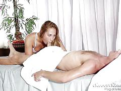 blonde, handjob, massage, babe, blowjob, kissing, natural boobs, massage table, sweet sinner, carter cruise, michael vegas