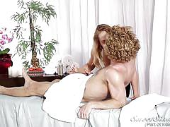 blonde, handjob, massage, babe, blowjob, kissing, natural boobs, massage table, sweet sinner, carter cruise, michael vegas