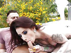 small tits, outdoor, blowjob, tattooed, undressing, reverse cowgirl, burning angel, sheena rose, joanna angel, seth gamble